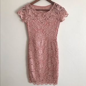 CHARLOTTE RUSSE pink lace dress in size S